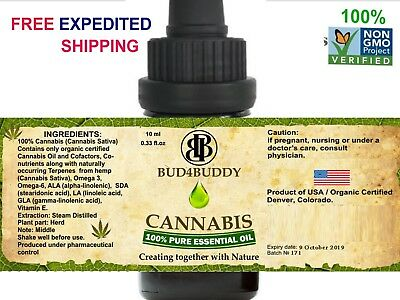 Cannabis Essential Oil Relaxing - 100% Pure and Natural Therapeutic Grade 10ml