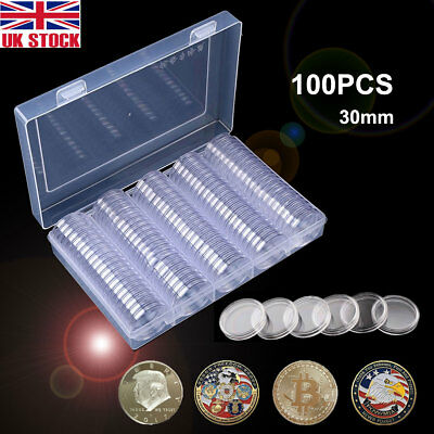 100Pcs/lot Case Clear Capsules Container Holder 30mm Plastic Round Coin Box /w