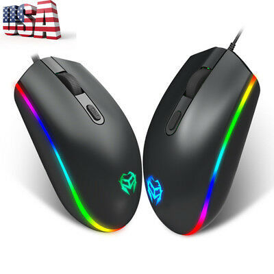 NEW M615 RGB Backlight Gaming Mouse 1600DPI 4Buttons Optical USB Wired Mice USA
