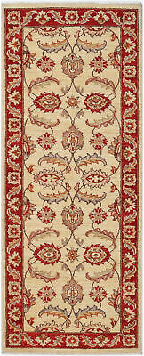 Traditional Hand Knotted Oriental Chobi Runner Area Rug Red/Beige Color (2 x 6)