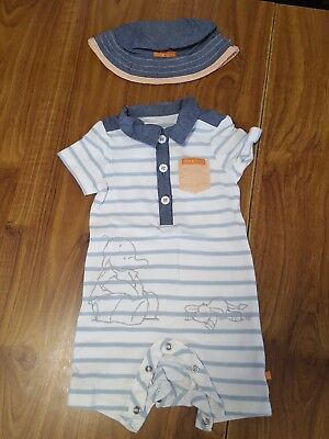 Mothercare Boys Set Size 3 To 6 Months  All In One /babygrow /bodysuit /hat