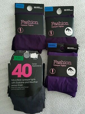 Job Lot Opaque Tights 6 Pairs Grey Purple S/M. New in original packaging