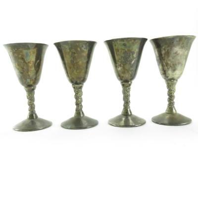 Vintage Set of Four Falstaff Silver Plated Spanish Wine Goblets with Vine Stems