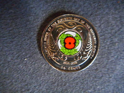 2018 New Zealand 50c 'Armistice Day' Commemorative Colored Coin x1 unc
