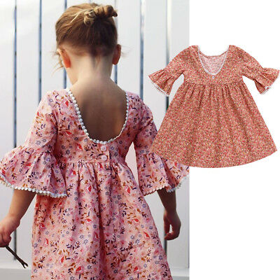 AU Kids Baby Girls Lace Floral Party Dress Flare Sleeve Dress Clothes Outfits