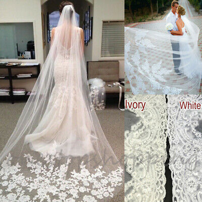 3M 1T Cathedral Applique Edge Lace Bridal Wedding Veil With Comb  White Ivory