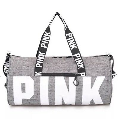 New PINK Grey Canvas Duffle Bag Yoga Holiday Gym Travel Weekend Top women
