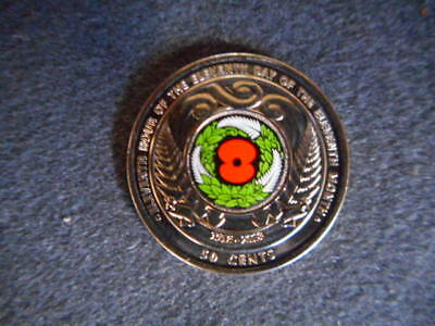 ANZAC remembrance 2018 New Zealand 50c 'Armistice Day' Commemorative Colored