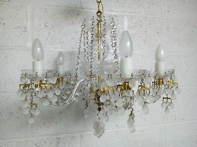 Large Vintage Jablonecke Czech Crystal Chandelier Ceiling Light Grapes
