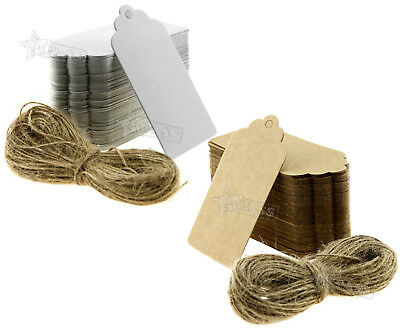 100 Kraft Paper Gift Tags Shop Scallop Label Luggage Wedding Blank + Strings