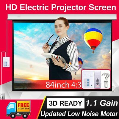 """Electric Motorized Projector Screen 84"""" 4:3 Aspect Ratio For HD 3D with RB"""