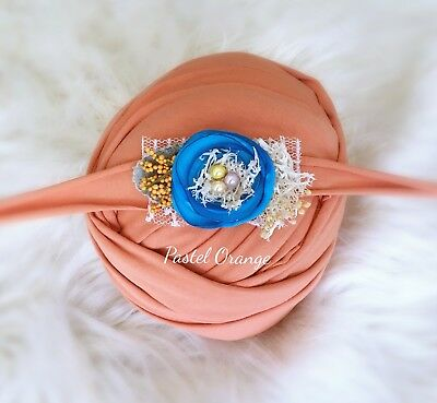 Pastel Orange Soft Cotton Jersey Stretchy Wrap Headband Baby Newborn Photo Prop