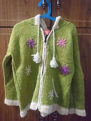 HANDMADE wool cotton Child Jacket  Hood and Pockets, green white pink, Size 10