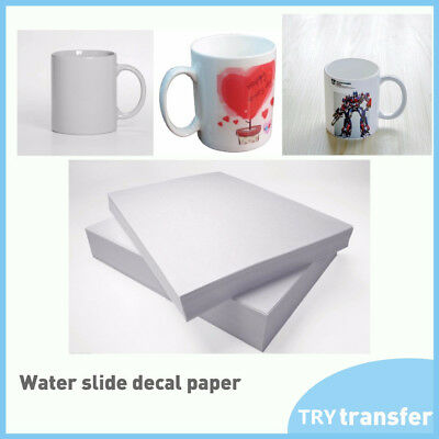 INKJET CLEAR AND WHITE WaterSlide Decal PAPER A4 Sheets TRANSFER PAPER