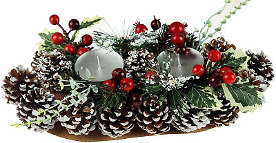Christmas 30cm Candle Holder Table Centre Piece - Pine Cone Holly Berry