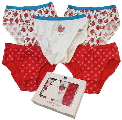 Girls Briefs Cotton 5 Pack Gift Box Christmas Robin Knickers Pants 2 to 12 Years