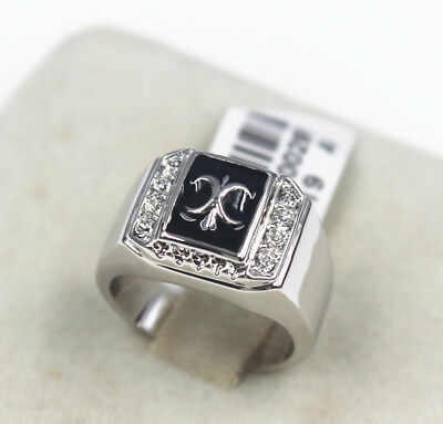 ITALINA Wedding Engagement Black Agate 18k white gold men's ring size 9