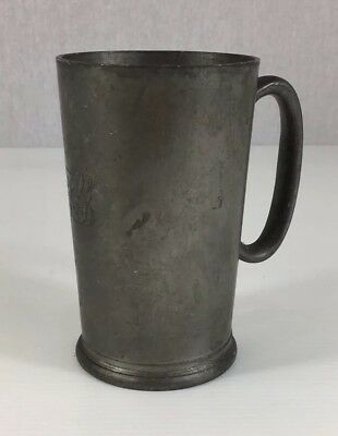 Antique Unusual Pewter Half Pint Measured Tankard Lifted Bottom