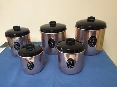 Vintage Anodised Gold Kitchen Canisters, Retro Canisters 60s 70s Mid Century