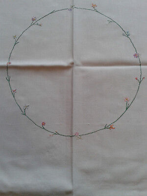 Vintage Hand Embroidered Antique White Linen Cotton Tablecloth Floral