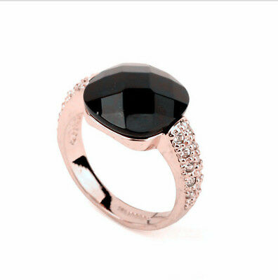 ITALINA Wedding Engagement Black Agate 18k rose gold filled men's ring size 8