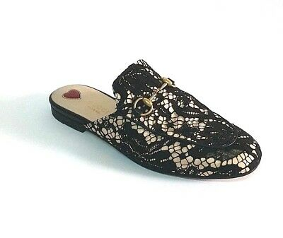 cb6ff91890 GUCCI PRINCETOWN BLACK Lace and leather Slip On Mules 38 8 - $450.00 ...