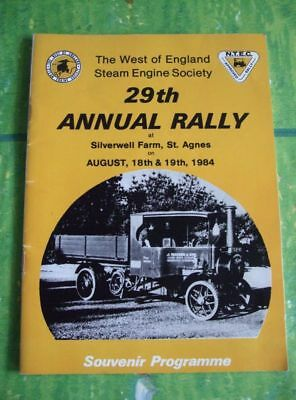 29th Annual Rally at Silverwell Farm, St. Agnes 1984, Dampfmaschinen Programm
