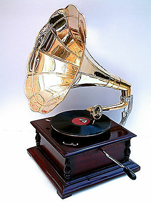 Replica Gramophone Player 78 rpm vinyl phonograph Brass Horn HMV Vintage Wind up