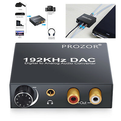 192kHz Digital Optical Coaxial Toslink to Analog RCA L/R Audio Converter 3.5mm