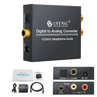 Coaxial Optical Toslink Digital to Analog Audio Converter RCA R/L 3.5mm jack NEW