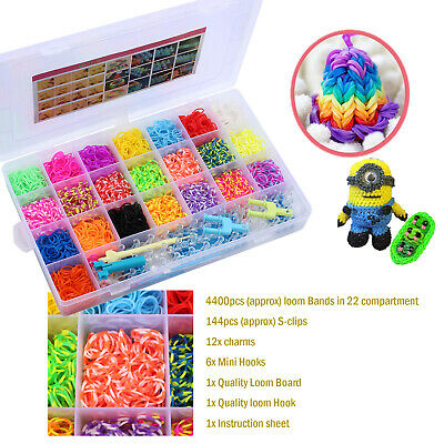 DIY 4500 pieces Rainbow Colourful Rubber Loom Bands Bracelet Making Kit Gift