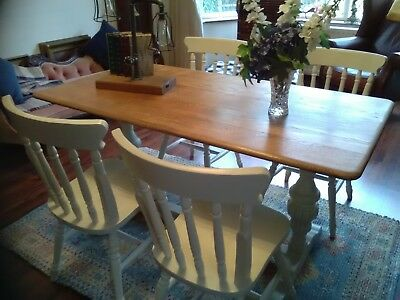Shabby chic vintage solid oak 1930s/40s dining table and four spindle back farmh