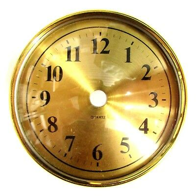Replacement Brass Quartz Clock Dial - Glass Face - Black Numerals - 100mm