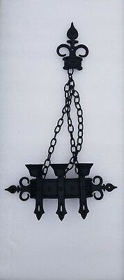 Pair (2)1967 vintage sexton gothic wrought iron sconce candle holders candelabra
