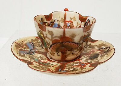 Antique Japanese Ko Kutani Satsuma Style Signed Teapot Saucer Butterfly Moths
