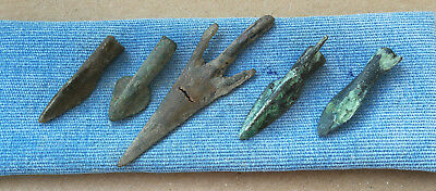 Authentic Lot Of 5 Ancient Scythian Bronze Arrow Heads