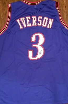 221fbb576a6 AUTOGRAPHED SIGNED ALLEN IVERSON Philadelphia Red Basketball Jersey ...