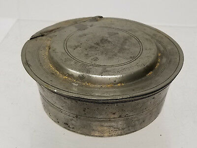 Antique Early Small Covered Hinged Pewter Snuff Box Tobacco Box Tobacciana