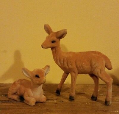 Set of 2 Vintage Brown Flocked Deer Christmas Decoration Doe and Fawn