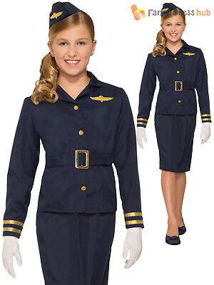 Girls Stewardess Costume Child Flight Attendant Air Hostess Fancy