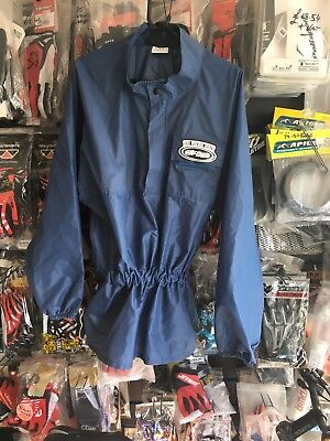 Large MX TRIALS MTB enduro WATERPROOF JACKET RAIN MAC coat Top Hood less Blue