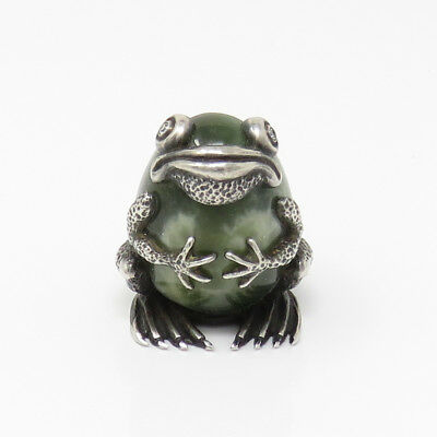 NYJEWEL Imperial Russian Fabergé Royal Frog Diamond Silver Nephrite Paperweight
