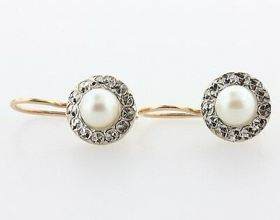 Antique 14K Rose & White Gold Halo Bezel 6mm Saltwater Pearl Hook Drop Earrings