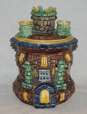 French Palissy Majolica Castle Figural Humidor/Match Holder