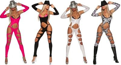 sexy Gogo-Overall mit Armstulpen und Cut-Outs * 34 36 38 * Catsuit Jumpsuit