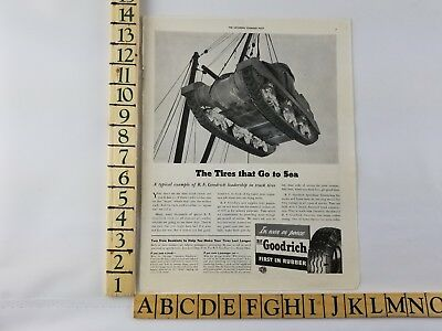 1942 BF Goodrich Tires Go To Sea Tank Bogie Track Rollers WWII Army Print Ad Art