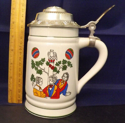 Pre-1974 Lippelsdorf (Blue Crown 1877 mark) East Germany Lidded Stein.