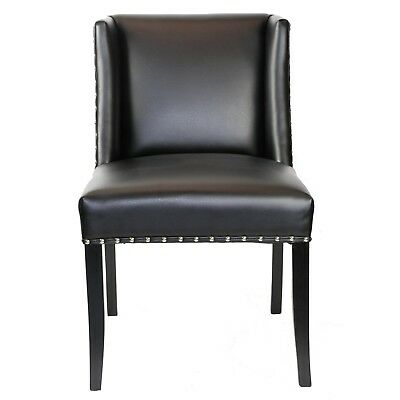 Black Wing Back Leather Dining Chair with Silver Nail Head