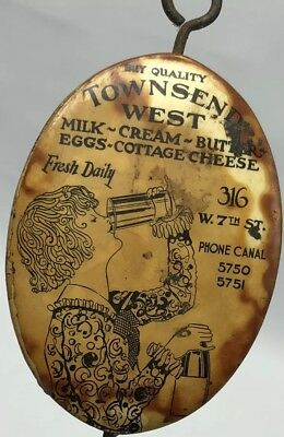 Townsend West Cream Lady Chugging Milk bill receipt hook Dairy Advertising