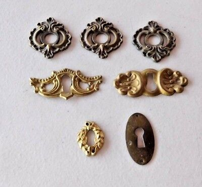 Lot of 7 Antique Escutcheons ORNATE Brass Key Hole Cover Furniture Hardware
